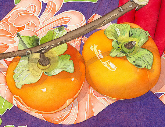 Painting of 2 eggplants, garlic bulb, tomato